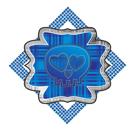 art skull of dot blue Stock Vector - 15982602