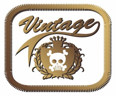 vintage skull in box Stock Vector - 15982587