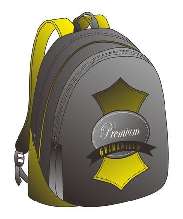 leather bag: golden bag Illustration