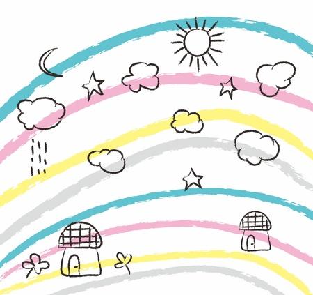 rainbow doodle Illustration