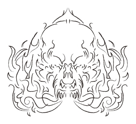 damn skull fire burn Vector