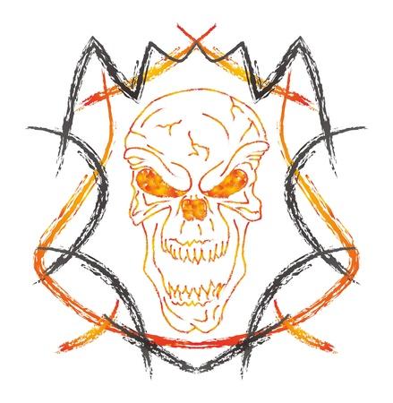 damnation: skull high evil Illustration