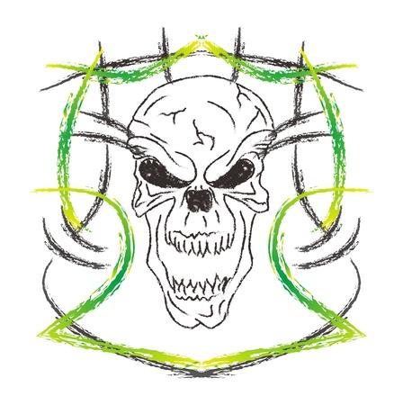 skull high evil yellow Stock Vector - 16144959