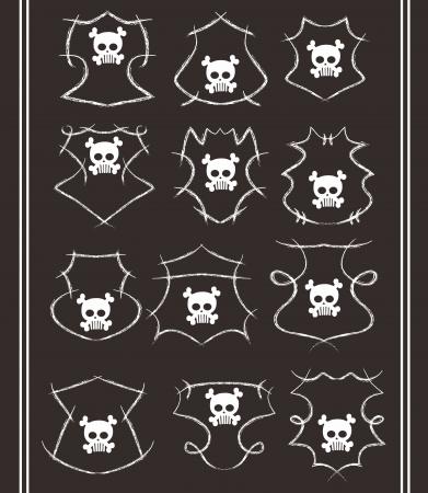 skull high evil set Illustration