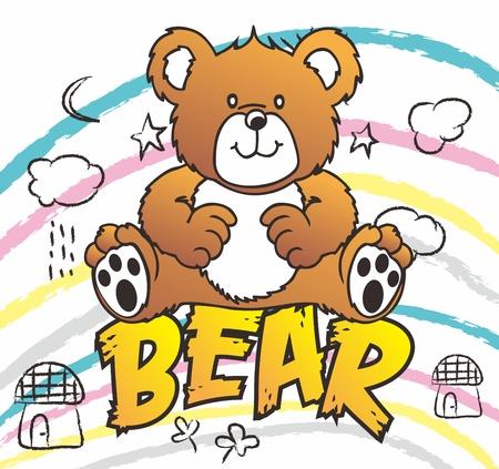 osito caricatura: gran oso pardo Vectores
