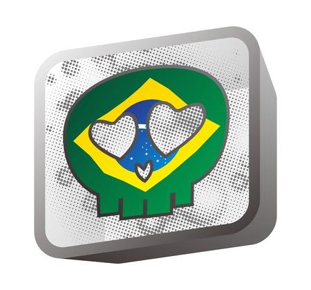 skull in flag brazil Stock Vector - 16395259
