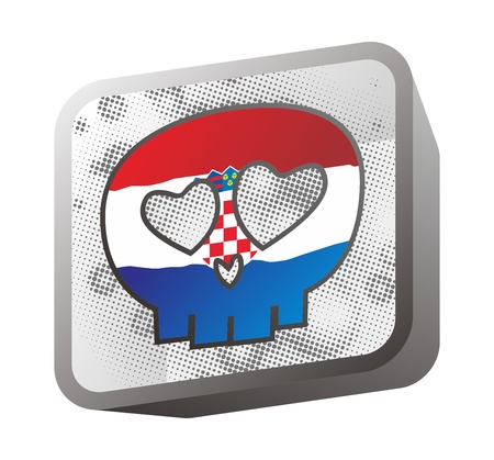 skull in flag croatia Vector