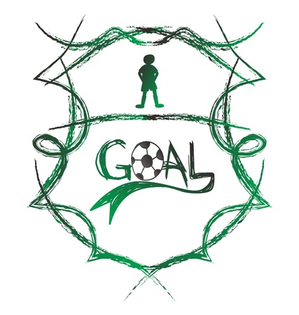 soccer goal shield Illustration