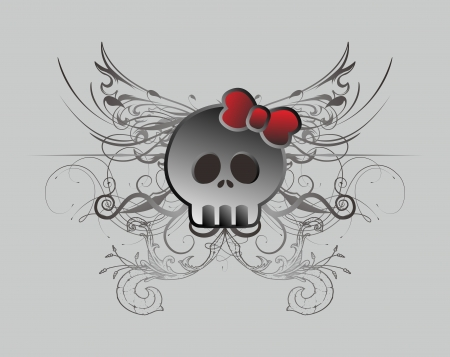 bad skull girl vintage Vector