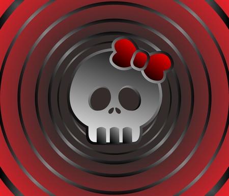 skull full art red Stock Vector - 16855832