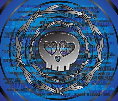 skull full art wire Stock Vector - 16855842