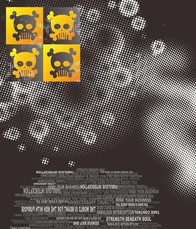 damnation: skull full art box Illustration