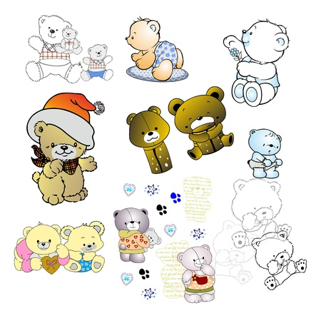 doodle cute bear Vector