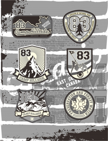camp label page set Vector