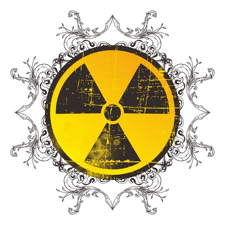 danger nuclear sign floral Vector