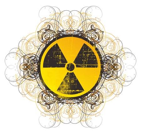 toxic cloud: danger nuclear sign vintage Illustration