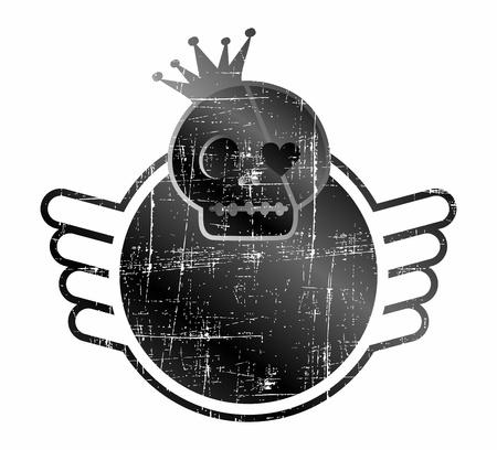 skull label wing Stock Vector - 17106148