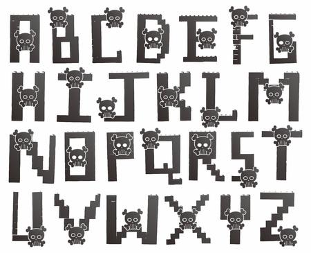 alphabet skull Vector