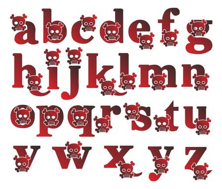 alphabet skull red Vector