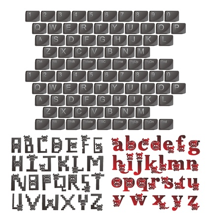 alphabet art skull keyboard Illustration