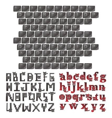 alphabet art skull keyboard Illustration
