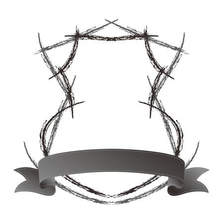 shield ribbon sketch art