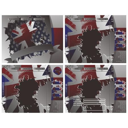 british web page set Illustration