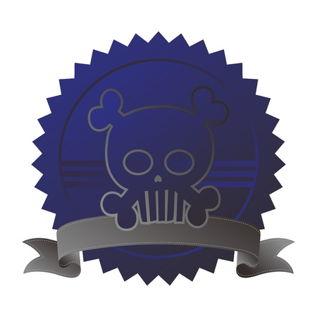seal tag blue skull Illustration