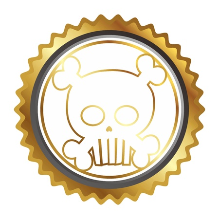 seal tag skull gold Illustration