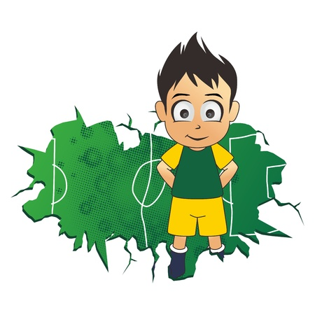 soccer green boy Vector