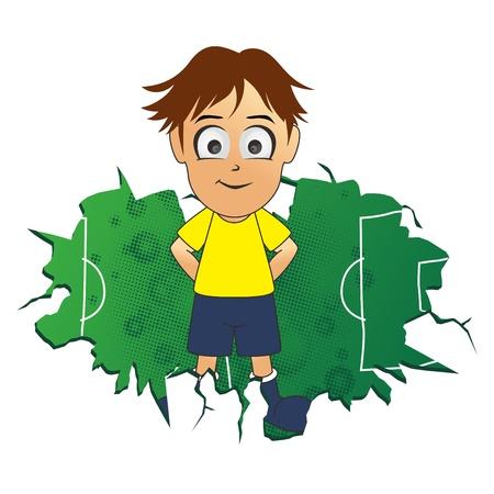 soccer brown hair boy Stock Vector - 17669105