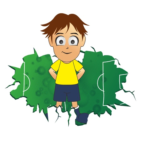 soccer brown hair boy Illustration