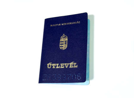 immigrate: Front of a hungarian passport isolated on white background Stock Photo