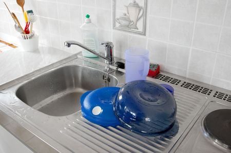 Sink for washing dishes in a kitchen Stock Photo - 908946