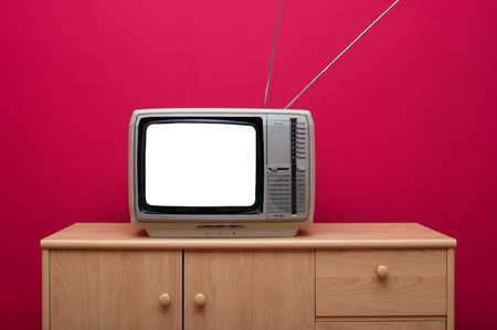 Vintage TV set with blank white screen Stock Photo - 4581735