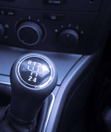 gearstick: Shiny gearstick of a car Stock Photo