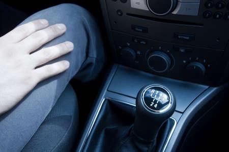 gearstick: Closeup of the gearstick of a car
