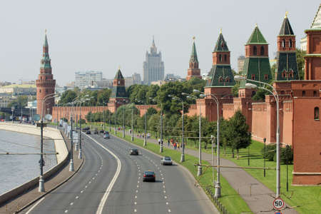 kreml: Moscow downtown with the kremlin walls