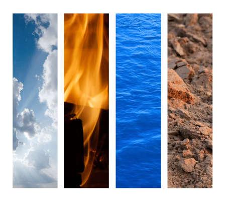 Los Cuatro Elementos - Aire, Fuego, Agua, Tierra Foto de archivo