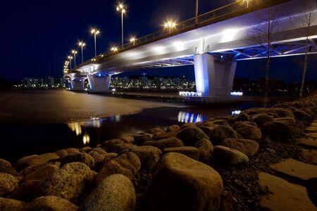 Bridge at night in Jyvaskyla, Finland