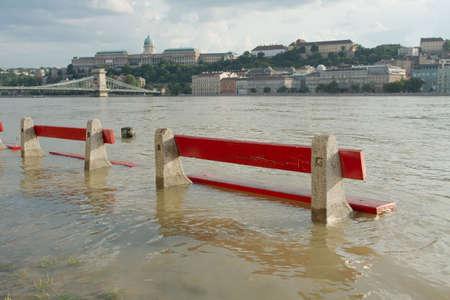 the danube: The river Danube flooding in Budapest
