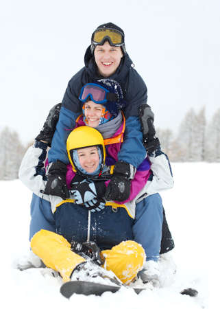 Group of young skiers having fun Stock Photo