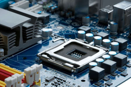 CPU socket on a computer motherboard photo