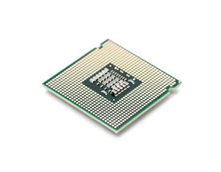 circuito integrado: Procesador de PC aislado sobre fondo blanco, foco superficial