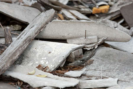A pile of debris of a destroyed building photo