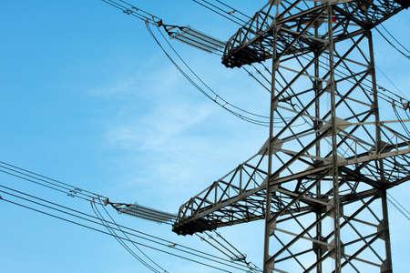 insulators: High voltage electricity pillar detail with big insulators