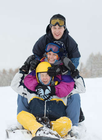 Group of young skiers having fun Stock Photo - 5906555