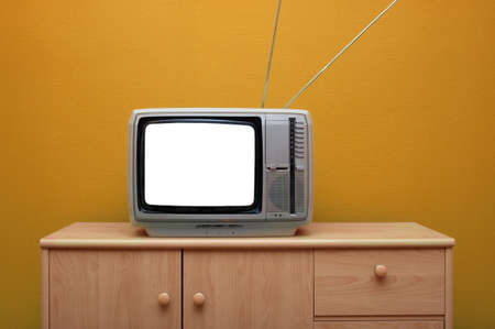 Vintage TV set with blank white screen Stock Photo - 5915233