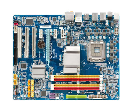 Computer mainboard isolated on white background photo