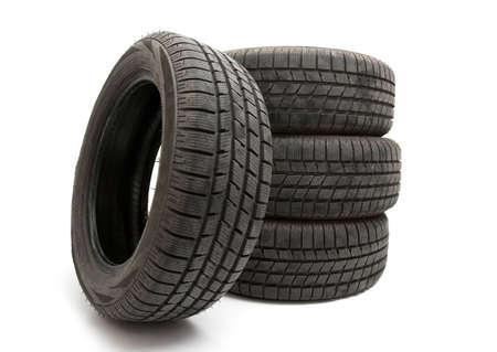 Four tyres isolated on white background Stock Photo - 5958851